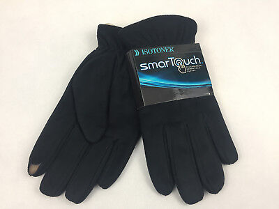 ISOTONER SmarTouch Men's TOUCHSCREEN COMPATIBLE Gloves Black 100% Polyester