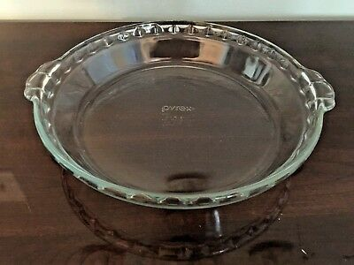 Vintage Pyrex 9.5 INCH #229 Clear Glass Fluted Deep Dish