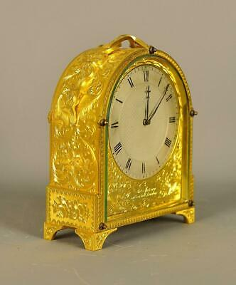 EXCEPTIONAL ENGLISH FUSEE ENGRAVED CARRIAGE CLOCK - Murrey London