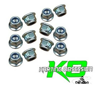 Go Kart 12 Qty x 8mm Flanged Nylock Nuts / Lock Nuts Parts Nuts Bolts