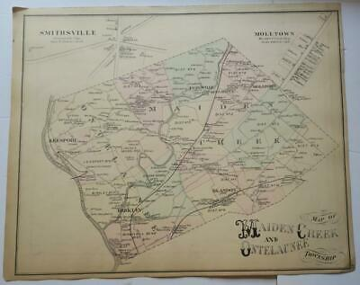 ORIGINAL 1876 hand-colored Map Maiden Creek,Ontelaunee Township,Berks County,PA
