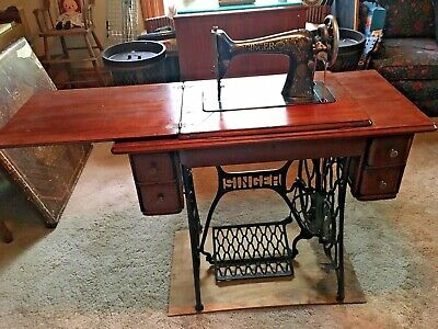 singer treadle sewing machine cabinet and base -working with belt-