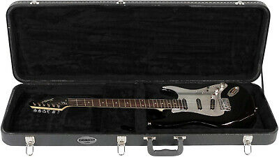 Standard Electric Guitar Lockable Carrying Wood Hard Shell Case w/ Bulge Surface