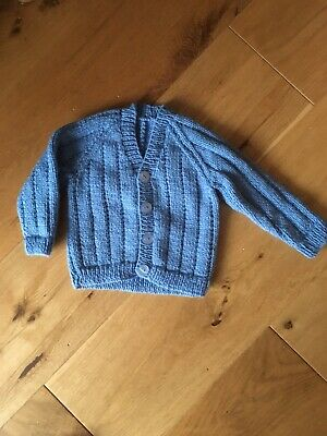 New hand knitted boys pale blue cardigan size 6-12 Months