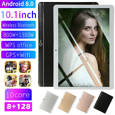 10.1'' 2 SIM Android 8.0 Tablet PC Octa Core WIFI HD 8+128G GPS Dual Camera
