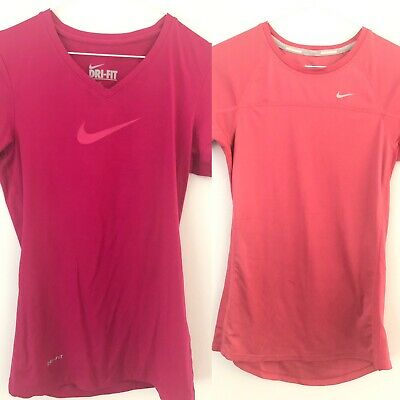 2 Nike Pro Dri-Fit Women Tee T Shirt Top Sport Bundle XS Ladies Gym Short Sleeve