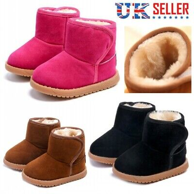 UK Kids Boys Girls Winter Warm Snow Boots Baby Fur Lined Chelsea Martin Shoes