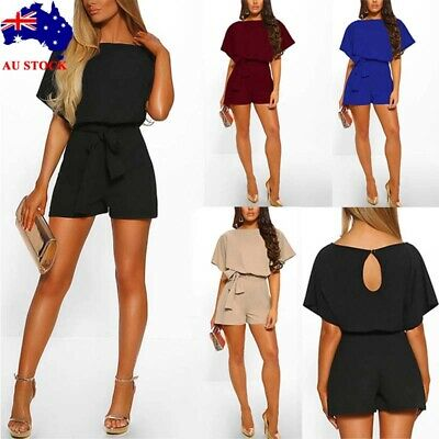 Women Short Sleeve Waist Tie Jumpsuit Romper Ladies Plain Mini Playsuit Shorts