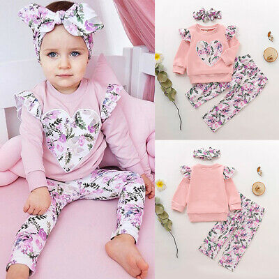 Newborn Baby Girls 3PCs Outfit Sets Long Sleeve Tops Pants Floral Outfit Clothes