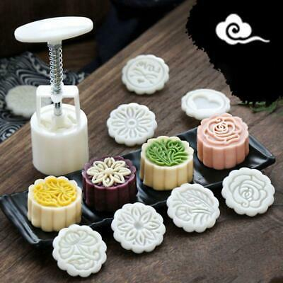 4pcs 3D Flower Stamp Moon Decor Mould Barrel Round 125g Mooncakes Hand DIY Tool