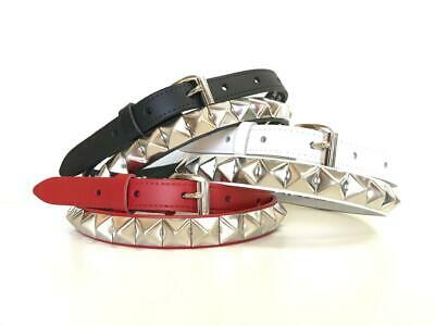 LADIES WOMEN/'S REAL LEATHER  WHITE BELTS  SMALL PYRAMIDS  STUDDED STUD BELT 2843