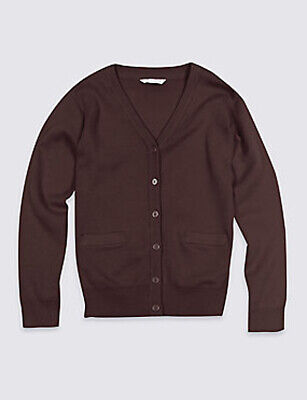 Mark & Spencer Girls' Cotton Rich Cardigan Brown Size 8-9 Years VR216 019