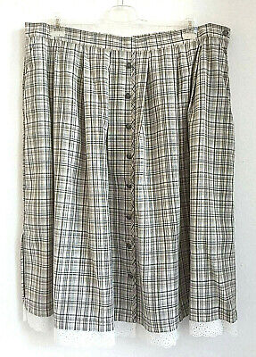New plus Size Oktoberfest Ladies Check Skirt in Costumes Look Beige Green Gr.54