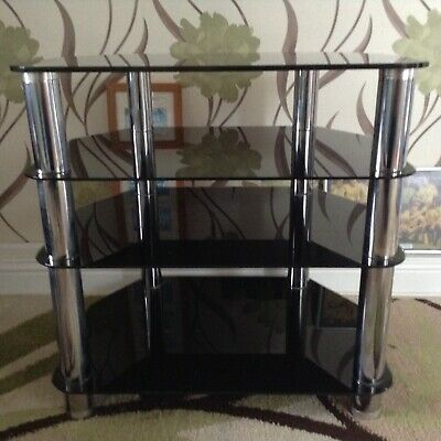 TV Unit Black Tempered 4 Tier Base Hi-Fi Cabinet Four Shelfs Used in VGC