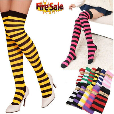 AU Sheer Women Girl Striped Thigh High Stockings Plus Size Over The Knee Socks