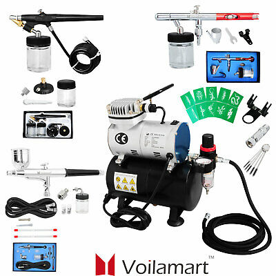 1/6 hp Compressor Airbrush Single-Action Dual Action Spray Gun Kit Air Brush Set