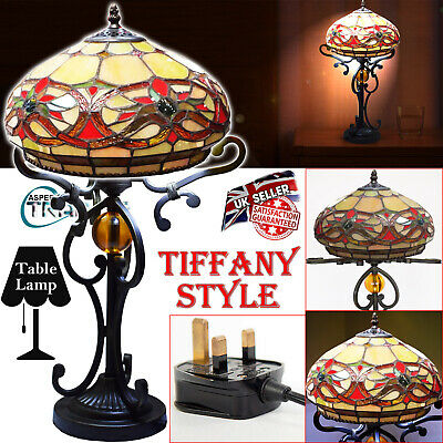 """12"""" Inch Tiffany Style Table Lamp Night Light Handcrafted Glass Bedside Home uK"""