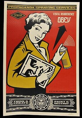 Shepard Fairey ♦ Stay Up Girl ♦ Litho Offset Signee Obey Giant Mint
