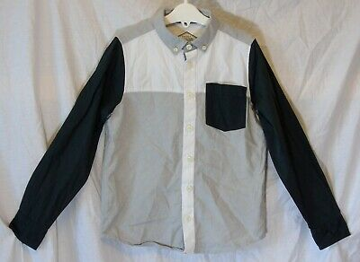 Boys Matalan Grey White Black Smart Casual Long Sleeve Shirt Age 8 Years