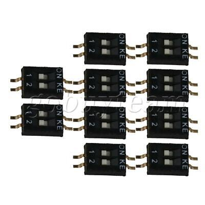 10 x DIP Switch 1.27mm Pitch 2 Position 4 Pin Patch Coding Switch Black
