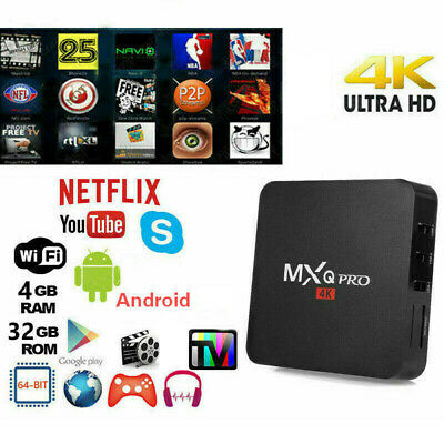 Tv Box Android 9.0 Iptv 4K Full Hd 1080P 4Gb 32Gb Ram Smart Decoder Wifi Mxq Pro