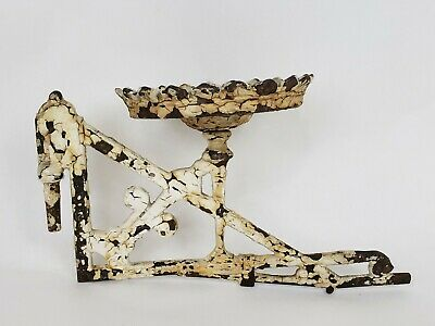 Antique Art Nouveau Victorian Cast Iron Wall Mount Chippy Lamp Flower Stand 11""