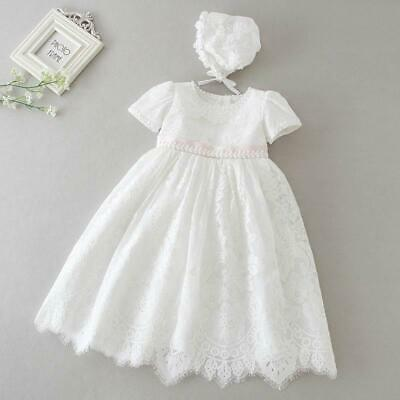 Vintage Baby Girl Baptism Dress Bonnet Floral Embroidery Christening Lace Gown