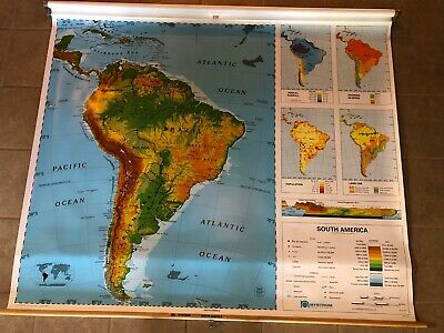 """Vintage Nystrom 1SR6 Pull Down South America Map 64"""" x 54""""  Markable Surface"""