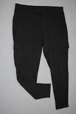 Womens CHARCOAL GRAY KNIT PANTS Stretchy CASUAL Front & Leg Pockets SIZE 3X