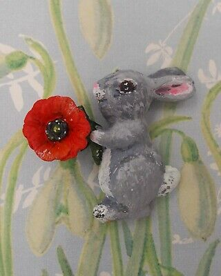 Red POPPY & RABBIT BROOCH Remembrance Pin Easter Bunny Pin-HANDMADE HAND PAINTED
