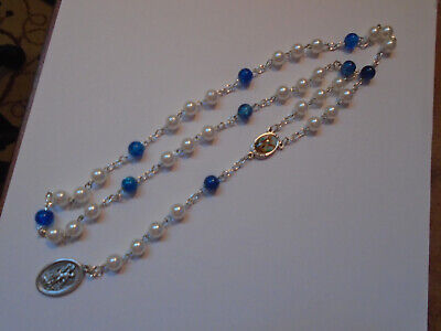 St Michael CHAPLET Angelic Crown Rosary Beads WHITE PEARLS + Blue GLASS 8mm