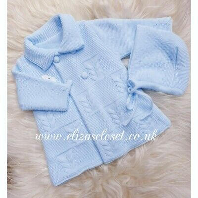 Pex Baby Boys Blue Spanish Knitted Fair Isle Jumper /& Trouser Outfit Suit NB-9M