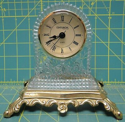 "Vintage Crystal Glass Rose Flower Desk Mantle Shelf Clock Brass Base 5.75"" Tall"
