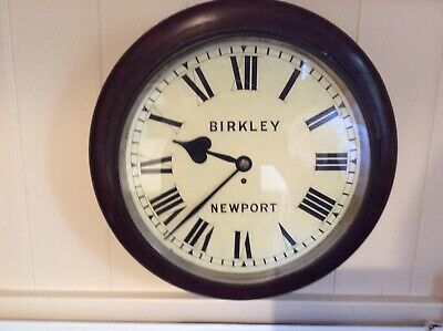 "Large Size Fusee Wall Clock, Working, Dial Diameter 16"",Birkley Of Newport."