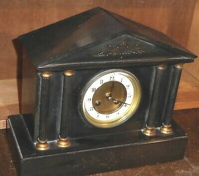 Antique French black marble mantle clock by Japy Frères