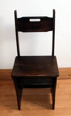 Antique Metamorphic folding Library Chair Ladder solid wood ORIGINAL