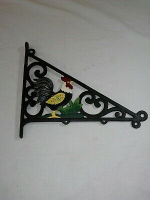 Vintage Chicken Painted Cast Iron HOOK Wall Plant Bell Chain Hanger Decor