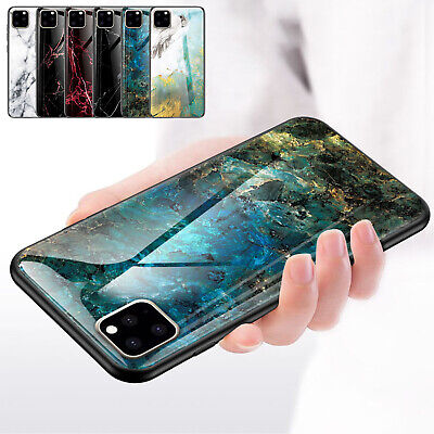 For iPhone 11 Pro Max 11 Pro Marble Shockproof Glass TPU Hybrid Hard Case Cover