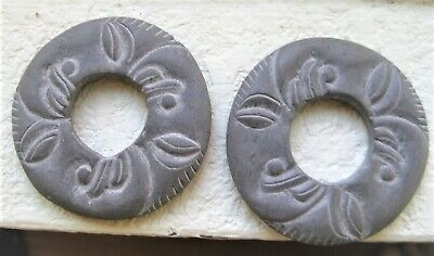 2 Hand Carved Double Sided Large Indian Pi Disk Pendants
