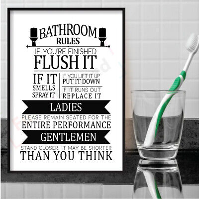 Bathroom Rules Print Toilet Sign Picture Funny WC Humour WordArt Wall Poster