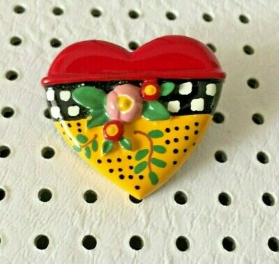 Collectible Mary Engelbreit Heart & Flowers Pin ME Ink 1999