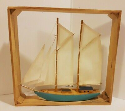 8 Inch Wooden Sailboat Ship Wooden Box Coastal Nautical Decor