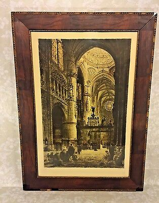 Ant Reproof Axel Haig Colored Etching of Cathedral (Burgos) Pencil Sgnd