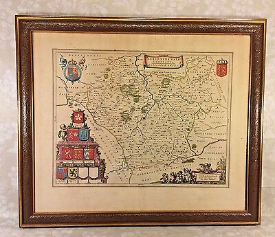Ant Joan Blaeu Map of Leicestershire England 1645 Hand Colored w/ Coat of Arms