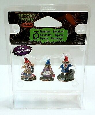 ZOMBIE GARDEN GNOMES Lemax SPOOKY TOWN Set Of 3 #82569 Halloween NEW