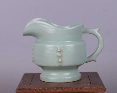 chinese old handmade Your kiln Green glaze porcelain cup 08267