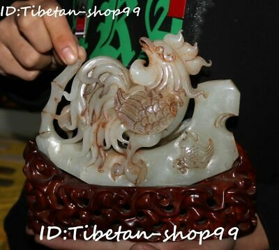 Chinese Natural Hetian Old Jade Carved Zodiac Rooster Cock Chick Chicken Statue