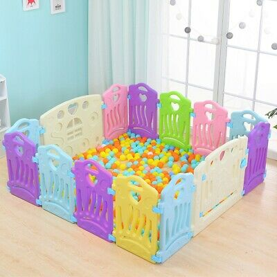 14 Panel Baby Safety Play Yards Kids Folding Playpen Activity Center Fence Home