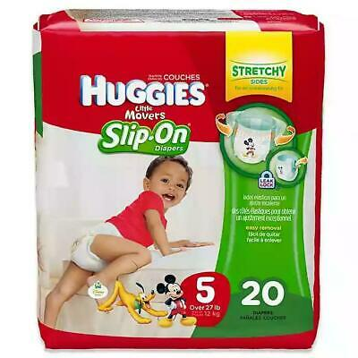 HUGGIES Little Movers Slip On Diaper Pants, Size 5, 20 Count, (Packaging May V..