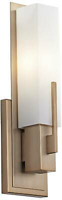 "Modern Wall Light Sconce Brass 15"" Fixture White Glass for Bedroom Bathroom"